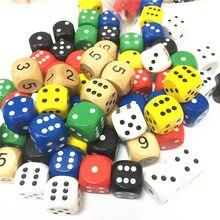 10 pçs dados de madeira d6 tomou partido dados 16mm número digital ou cubos de ponto coener redondo para o miúdo brinquedos jogos de tabuleiro