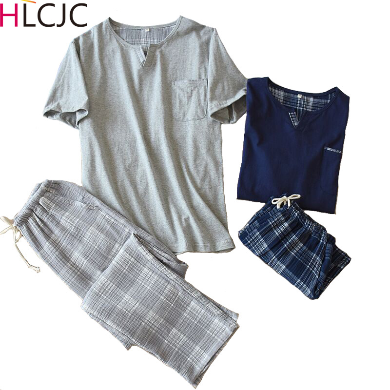 2020 Summer Plus Size 100% Cotton Pyjamas Men Sleepwear Pijamas Hombre Short Sleeve Casual Men Homewear Pajamas Sets For Male