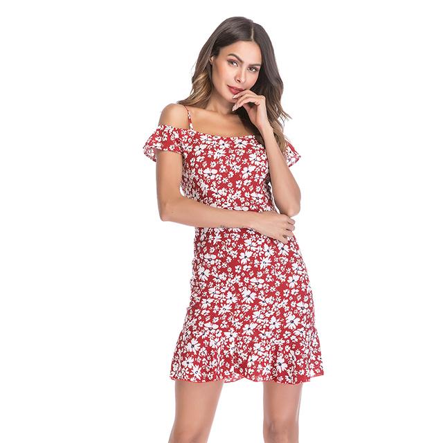 Women's Dress Tank Top off-Shoulder Floral-Print