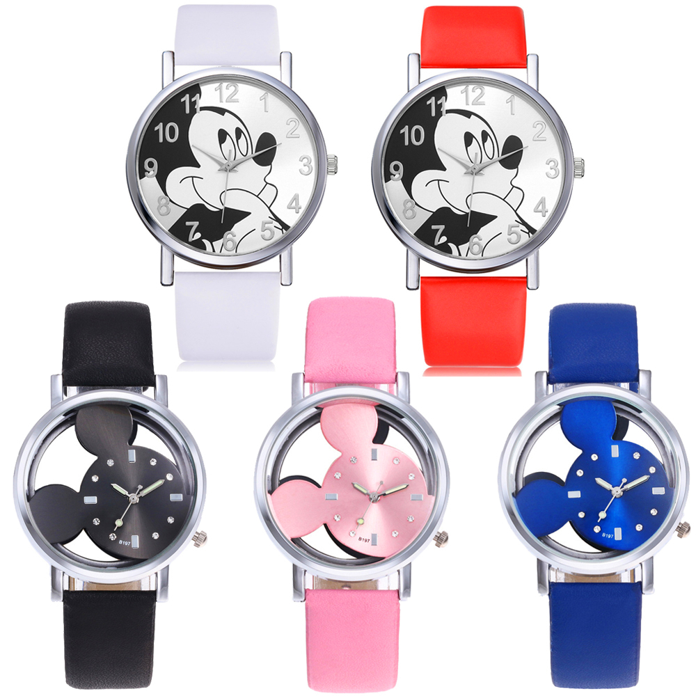 Reloj Infantil Children Watch Girls Boys Gift Students Clock Mickey Kids Watches Child Waterproof Leather Quartz Digital Watch