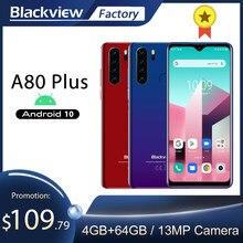 Blackview a80 plus 4gb + 64gb octa núcleo smartphone 6.49 hd hd hd + tela quad câmera traseira do telefone móvel 4680mah android 10 nfc 4g lte