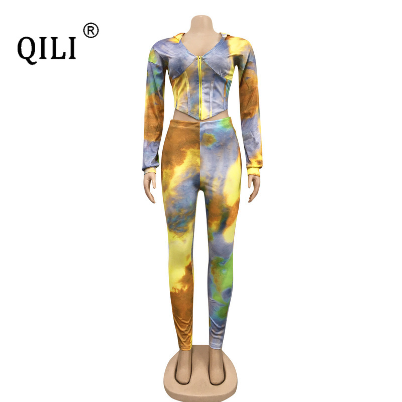 QILI New Hooded Zipper Two Piece Set Suits Women Outfits Print Long Sleeve Plus Size outfit Autumn