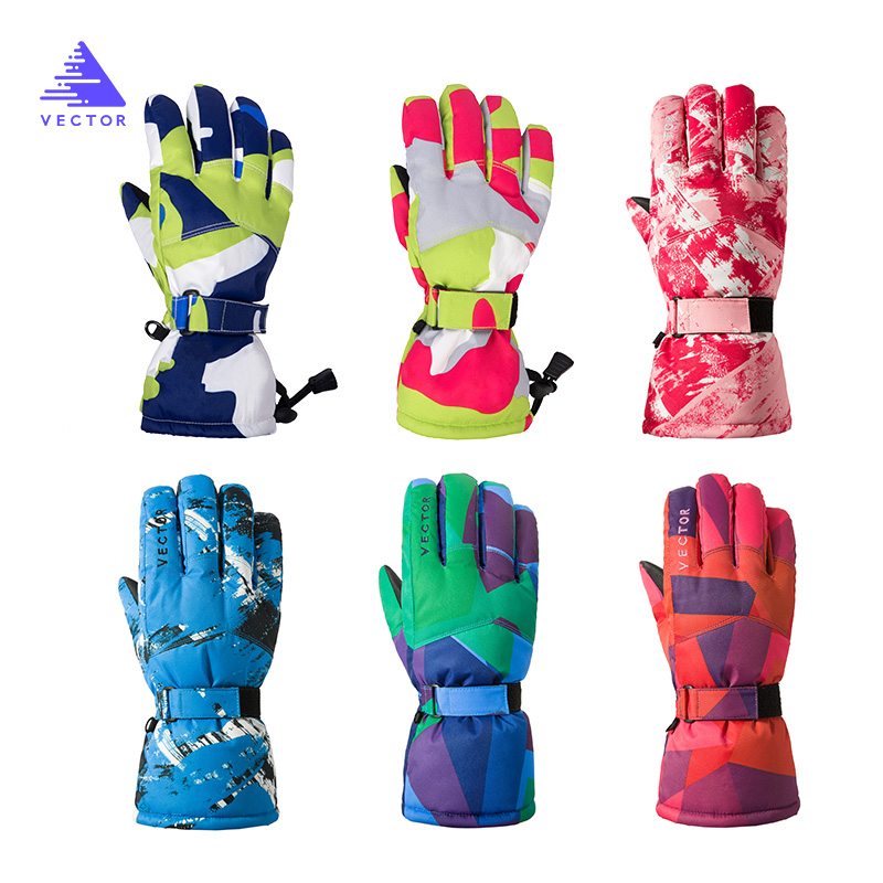 Children's Extra Thick Ski Snowboard Gloves Kid Boys Girls Snow Sport Outdoor Winter Warm Snowmobile Skiing Windproof Waterproof