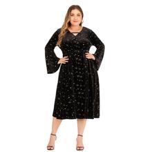 XL-5XL Autumn Winter Plus size Velvet Dress Casual Women Print Long Sleeve Bell sleeve Large Size Elegant Party