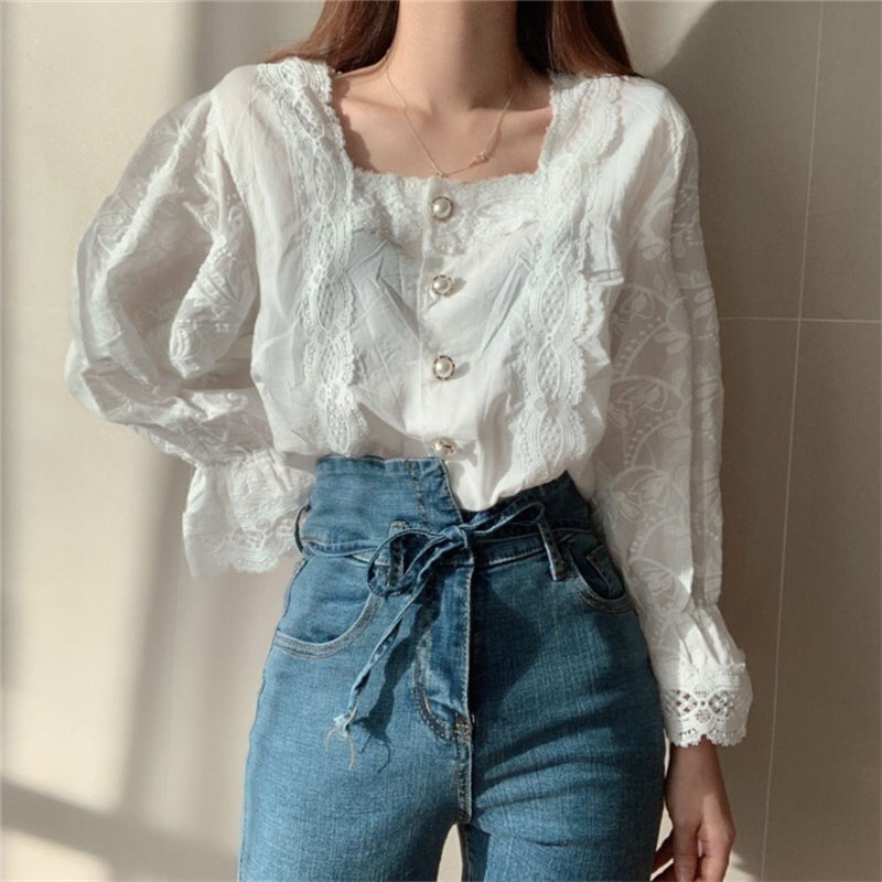 Alien Kitty 2020 Stylish Hollow Out Square Collar Palace Style Pearls Gentle Flare-Sleeved Chic Brief Women All-Match Shirts