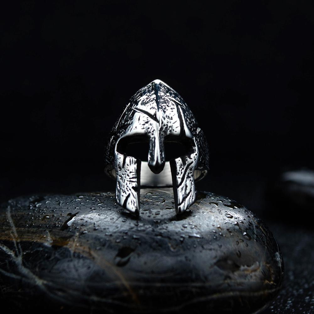 Kühlen Klassischen Sparta Helm Design Ring Einfache Edelstahl Krieger Ringe Für Männer Biker Schmuck Geschenk Für Ihn