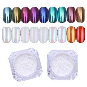 Image 1 - 1g Spiegel Glitter Nagel Chrom Pigment Shell Dazzling DIY Salon Micro Holographische Pulver Laser Nail art Dekorationen Maniküre