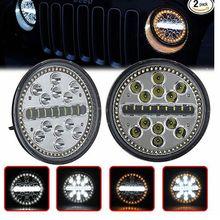 7 Inch Projector LED Headlight High Low Beam H4 Headlamps Amber White Halo Turn Signal Lights for Jeep Wrangler JK TJ LJ CJ цена 2017