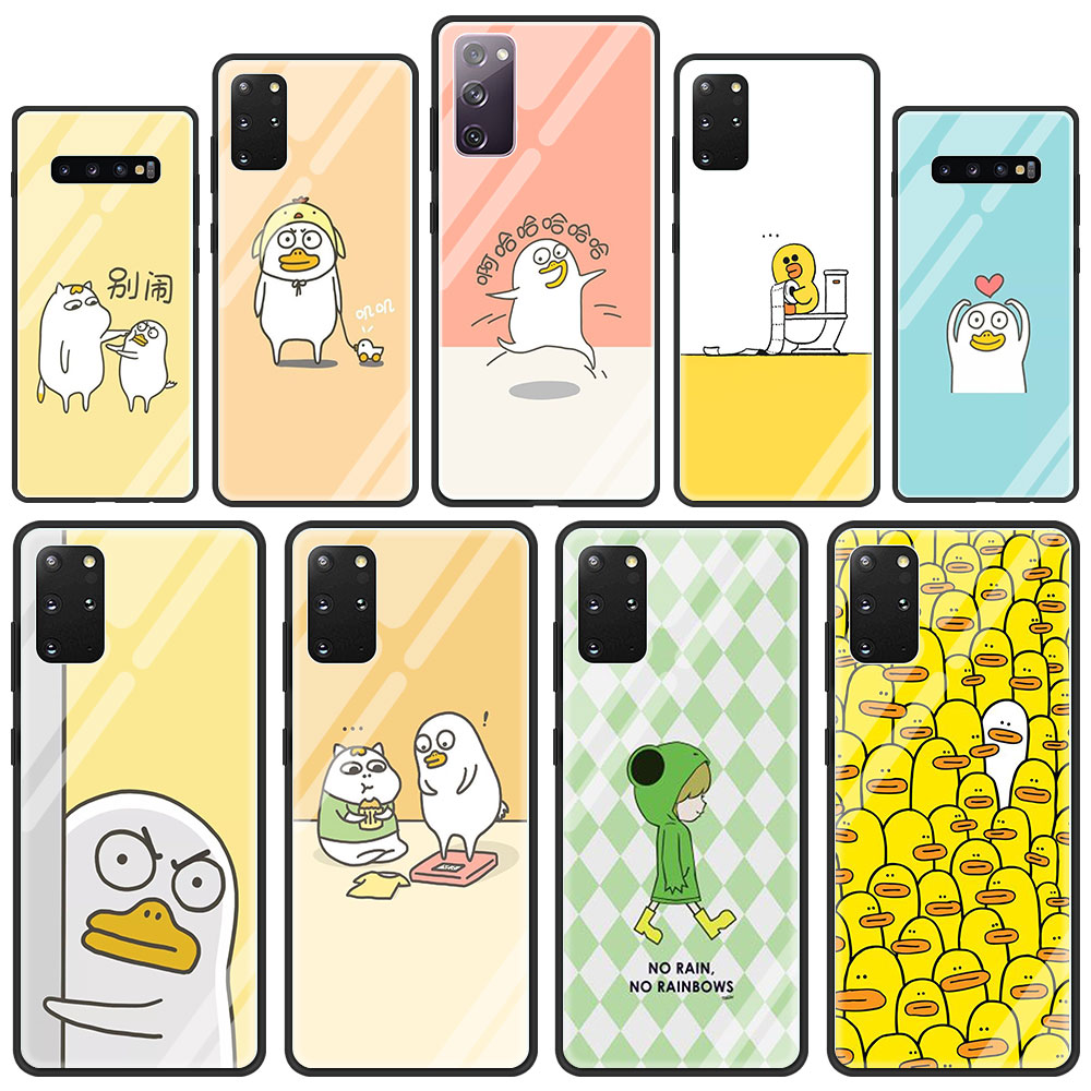 Korean Cute Cartoon Duck Glass Phone Case For Samsung Galaxy S21 S20 FE S10 Note 10 20 Ultra 5G 9 S9 Plus S10e Cover Capa
