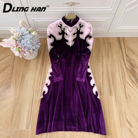 DLINGHAN Vintage Embroidery Purple Velvet Dress Women's Patchwork Stand Collar Long Sleeve Party Dresses Designer Autumn New