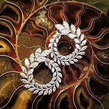 Marque de luxe nouvelle mode Olive forme AAA + cubique Zircon boucles d'oreilles branche cristal boucles d'oreilles pour les femmes partie Boucle d'oreille 119