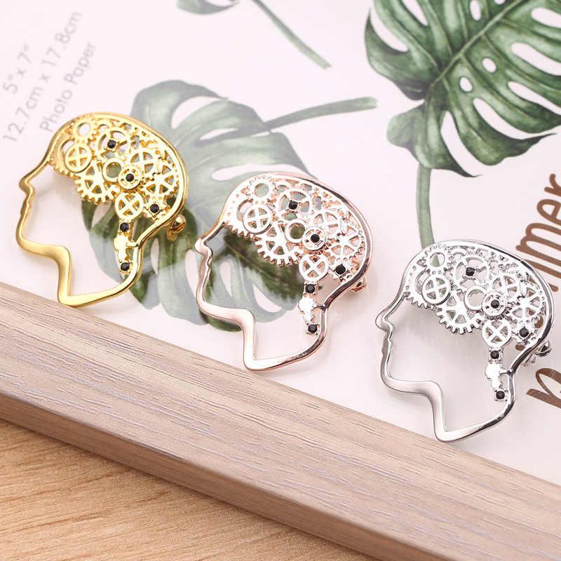 Kepala Gigi Bros Emas Perak Rose Emas Gadis Hadiah untuk Wanita Medis Natal Bros Fashion Perhiasan Kristal Kerah Pin Logam