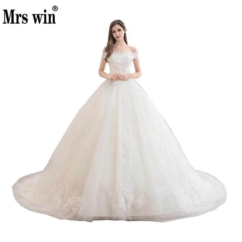 Wedding Dress 2020 New Elegant Boat Neck Sweep Train Brida Gown Lace Up Ball Gown Off The Shoulder Luxury Vestido De Noiva