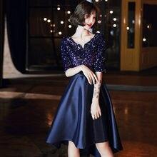 Потрясающие темно синие платья для выпускного вечера вечерние