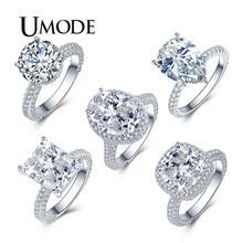 UMODE кольца из чистого кубического циркония, кольца на палец из белого золота для женщин, свадебные кольца, роскошные модные ювелирные изделия с кристаллами, подарок для девочек