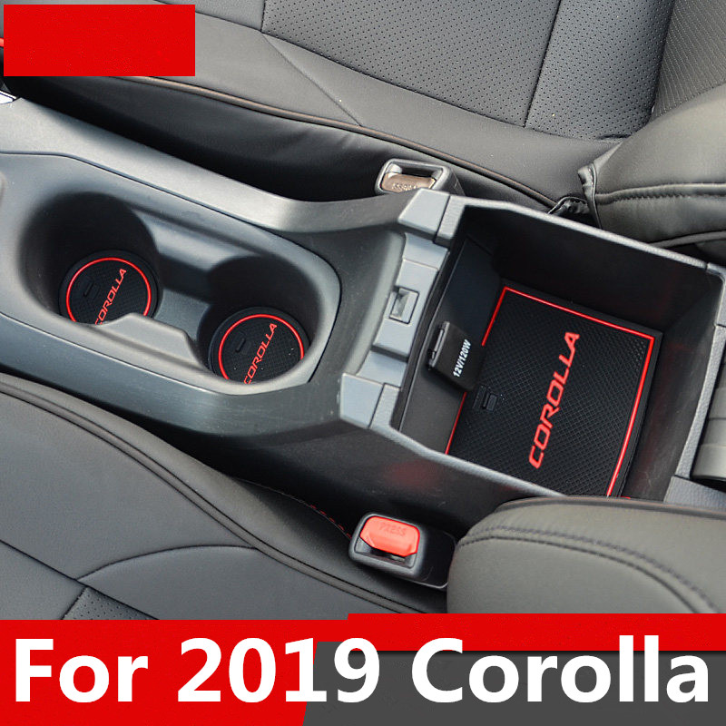 For 2019 Toyota Corolla Door Slot Pad Mat 3D Rubber Mat Interior Cup Cushion Groove Mat Lnterior Anti Slip Car Styling