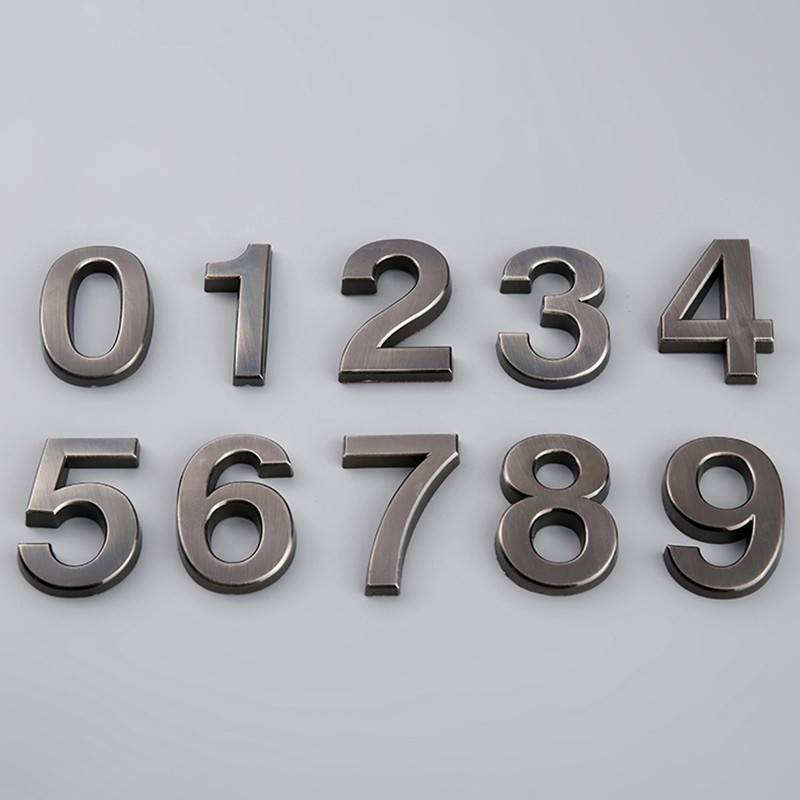 Grey Self Adhesive Numeral Door Plaque House Sign Plating Gate Digits 0 to 9 Plastic Number Tag Hotel Home Sticker Address(China)