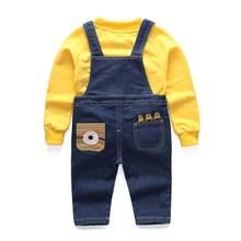 Meninos da criança outono denim macacão calças de brim + blusa manga cheia blusas define meninos roupas moda ternos mini crianças roupas