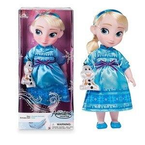 Аниме Дисней Холодное сердце маленькая девочка Эльза Анна Кристофф Олаф Игрушки 40 см замороженная фигура Олаф куклы подарки на день рожден...