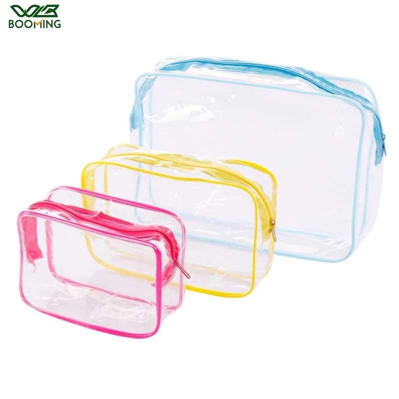 WBBOOMING Travel PVC Cosmetic Bags Lady Transparent Clear Zipper Makeup Bags Organizer Bath Wash Make Up Tote Handbags Case