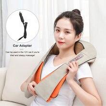 Massageador shiatsu elétrico para as costas, ombro, pescoço, massageador multifuncional, infravermelho quente para carro/casa