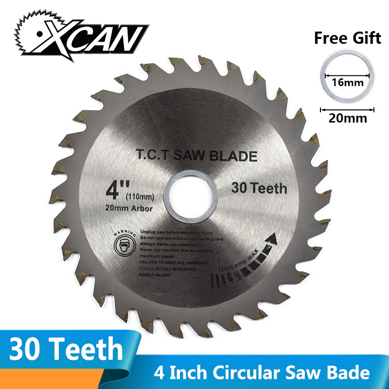 XCAN 1pc 4''(110mm)x20x1.8mm 30Teeth TCT Saw Blade Carbide Tipped Wood Cutting Disc Circular Saw Blade
