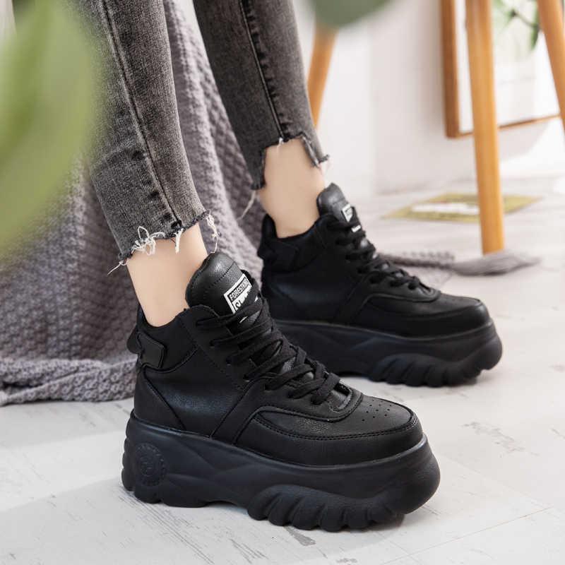 Sonbahar kış kadın yarım çizmeler 2019 moda bayanlar platformu 6cm yüksek takozlar deri rahat ayakkabılar kadın tıknaz Martin ayakkabı