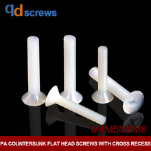 PA M2M3M4 nylon Countersunk flat head screws with cross recess  Phillips screw plastic DIN965 ISO 7046