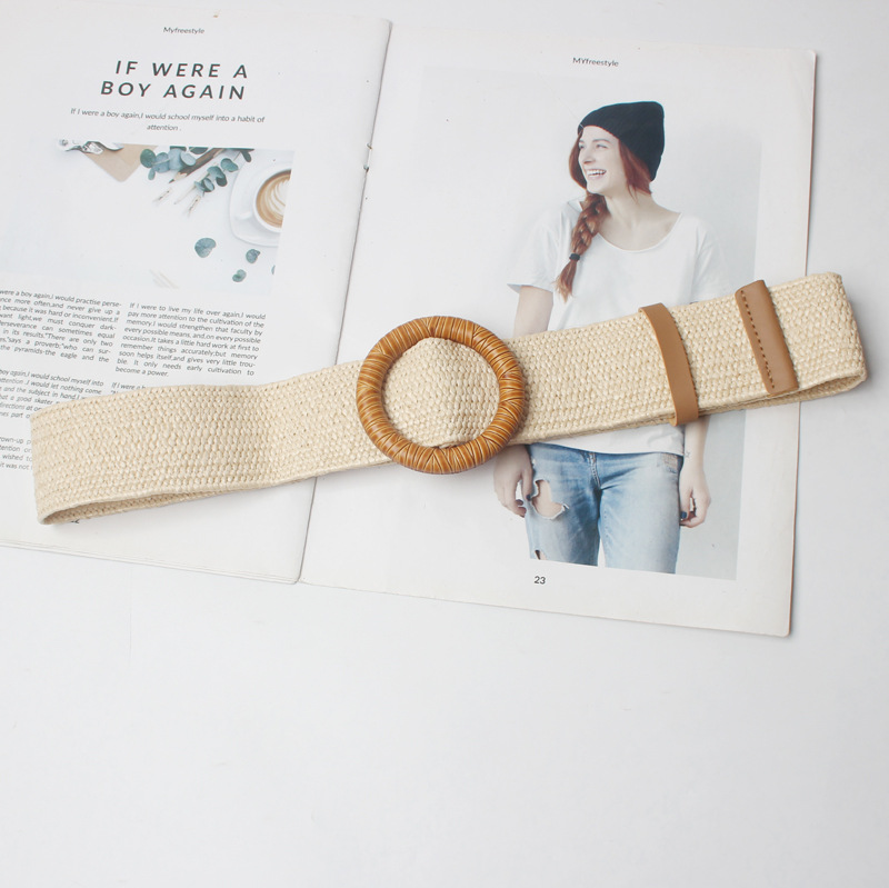 Vintage Knitted Wax Rope Wooden Bead Waist Rope Women Bamboo Joint Buckle Belt Woman Woven Female Hand-Beaded Braided Belt BZ347