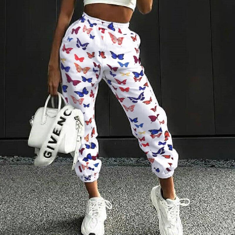 Butterfly Print High Waist Joggers Women Plus Size Baggy Pants Women Streetwear Oversized Trousers Harajuku Sweatpants