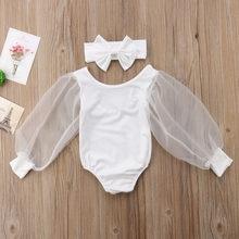 Verão quente 2 pçs recém-nascidos da criança do bebê menina manga longa preto branco malha moda personallity bodysuit outfits