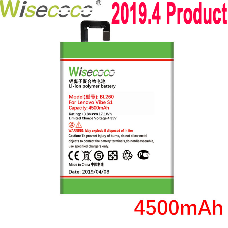 WISECOCO 4500mAh BL260 Battery For Lenovo VIBE S1 Lite S1La40 Mobile Phone In Stock Latest Production Battery+Tracking Number
