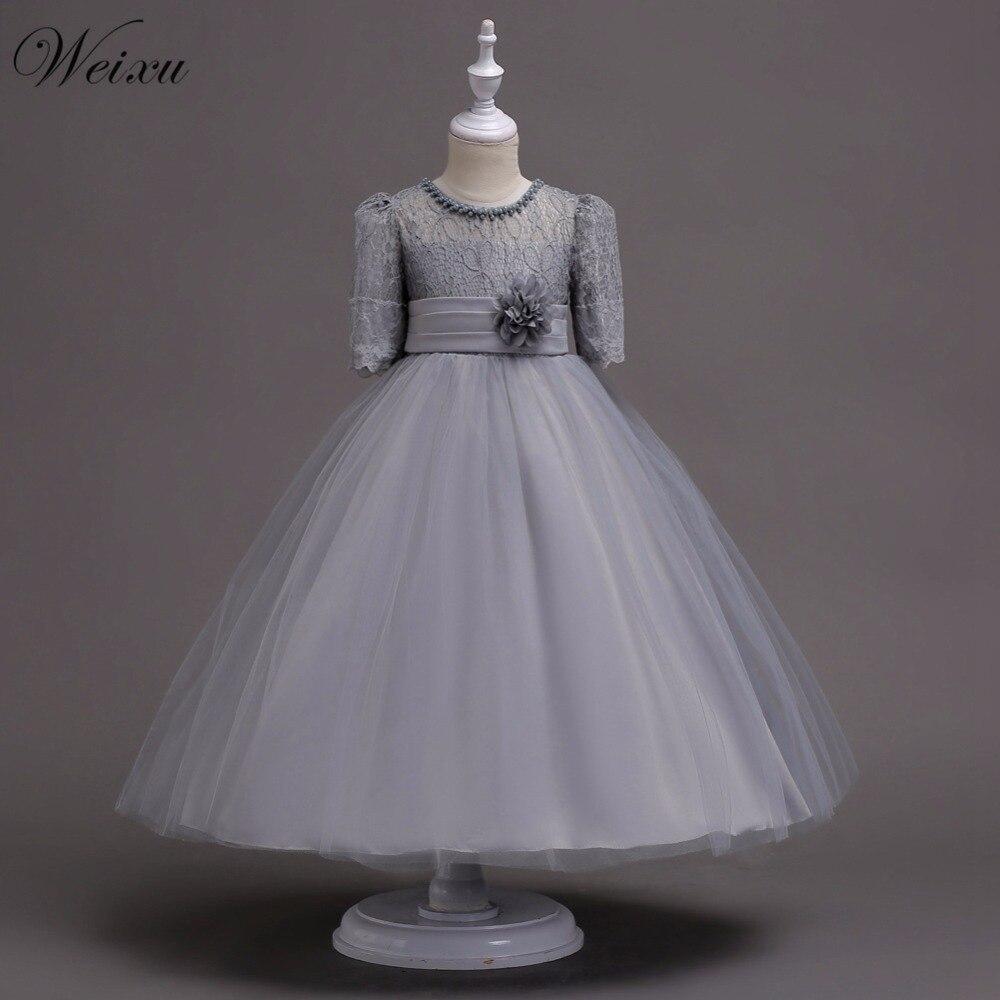 Weixu Menina Flor Rendas Princesa Vestidos de Crianças À Noite Vestidos de Baile Formal da Festa de Casamento Roupas para Meninas 5 8 10 12 14 16 anos de Idade