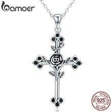 BAMOER – collier en argent Sterling 925 authentique pour femme, bijou avec pendentif en forme de croix, Rose, fleur, feuille, SCN091