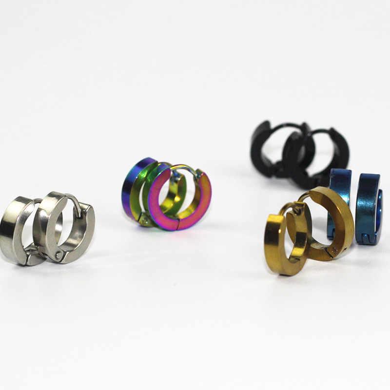 ขนาดเล็ก Hoop ต่างหู Silver Gold 316L สแตนเลส Hoop ต่างหูผู้หญิงผู้ชายแหวนหูคลิปสีวงกลมต่างหู e0213