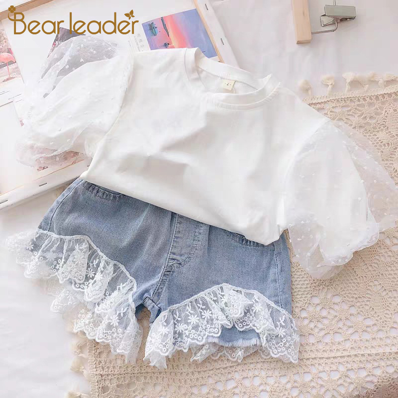 Bear Leader Girls Sets 2020 New Summer Children T-shirt and Denim Pants 2PCS Kids Outfits Casual Girl Clothing Fashion Soft Suit 1
