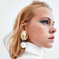 Женские массивные серьги-подвески ES1133, европейская модная большая жемчужина, геометрические металлические серьги в стиле ретро, свадебные ...
