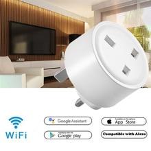 Tuya WiFi Smart Plug Socket UK 15A Adaptor Wireless Remote Control Power Energy Monitor Timer Smart Home For Alexa Google Home