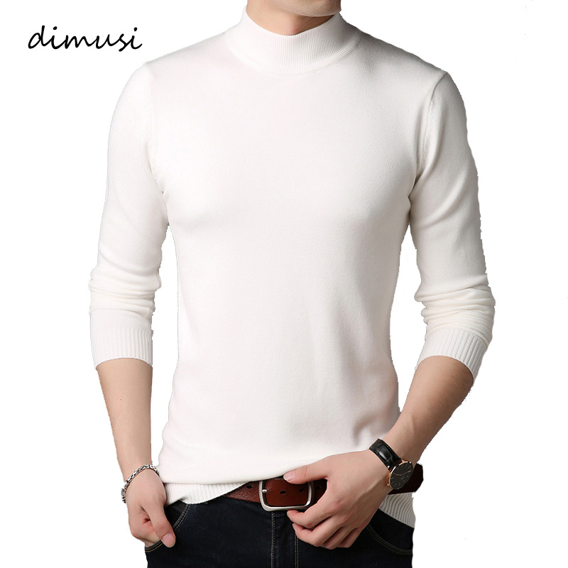 DIMUSI Winter Mens Sweaters Casual Men Long Sleeve Solid Color Pulll Turtleneck Sweaters Men Slim Fit Knitted Pullovers Clothing