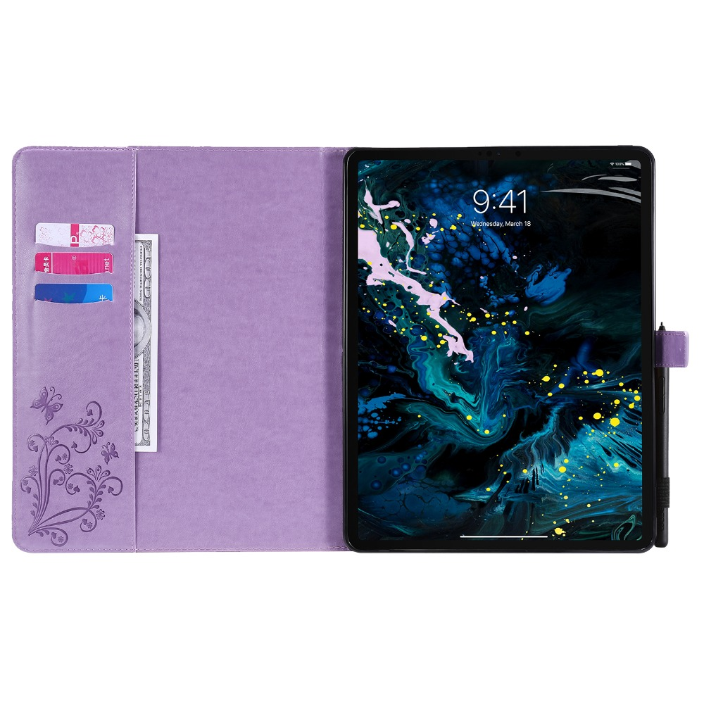 For Butterfly Tablet iPad Cover Case Folio 2020 2018 Folding Embossed Fundas Pro 12.9