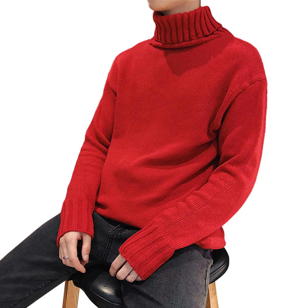 MISSKY Autumn Winter Men Sweater Solid Color Fashion Loose High Collar Casual Knitting Long Sleeve Loose Sweater Male Tops