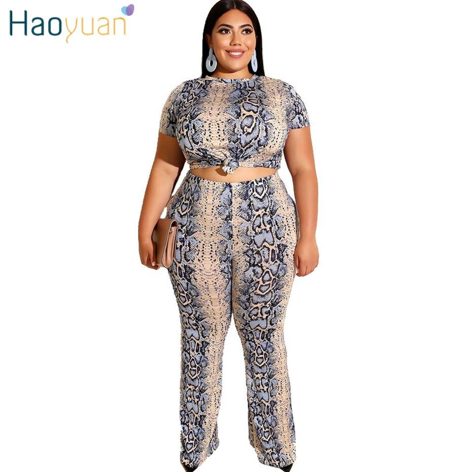 HAOYUAN 4XL 5XL Two Piece Set Women Festival Clothing Snake Print Plus Size Crop Top Pant Suit Sexy 2 Piece Outfits Matching Set