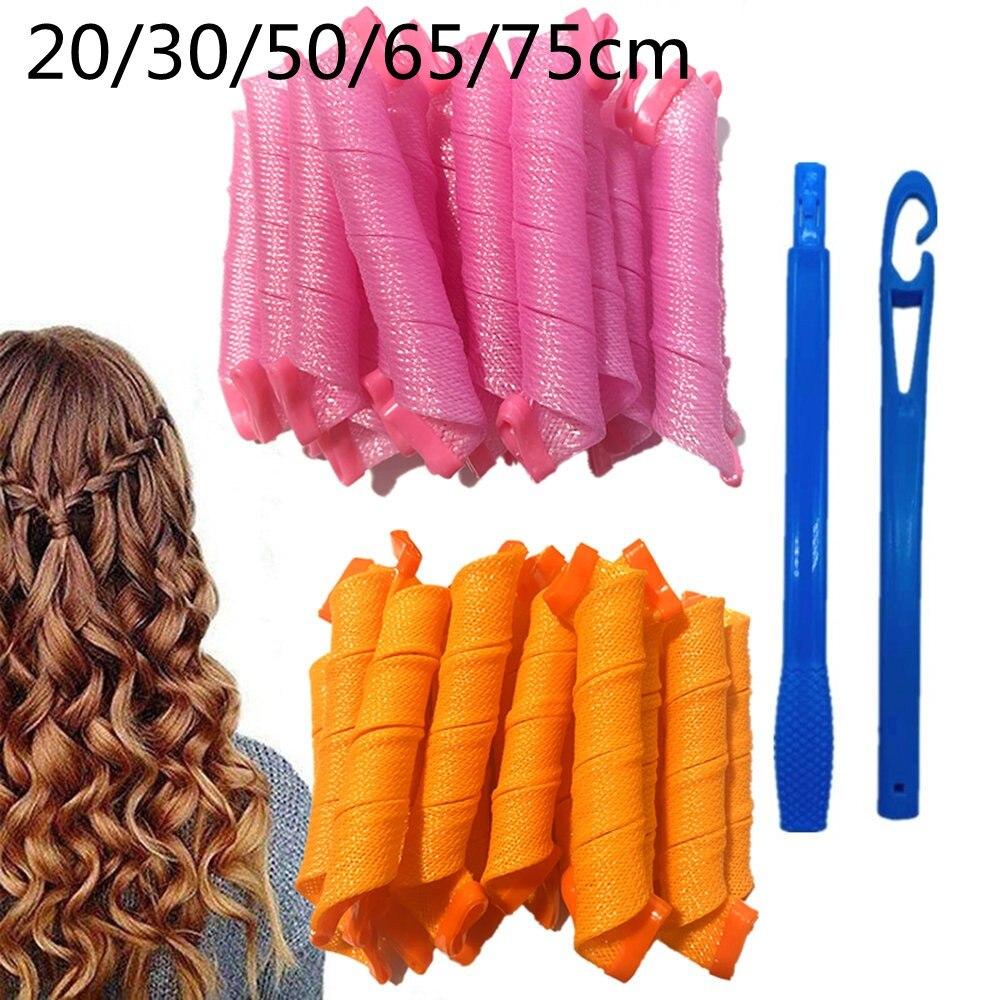 Волшебные ролики для волос левера 20/30/50/65/75 см, форма улитки, не волнистая форма, круглые завитки, мягкая бигуди, Волшебная бигуди, сделай сам