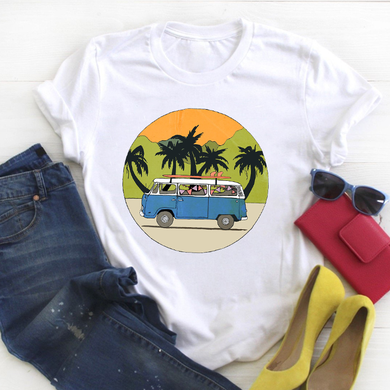 Women Road Trip Travel Vacation Printed Cute 90s Summer T Tee Ladies Female Top Shirt Clothes Tshirt Womens Graphic T-shirt