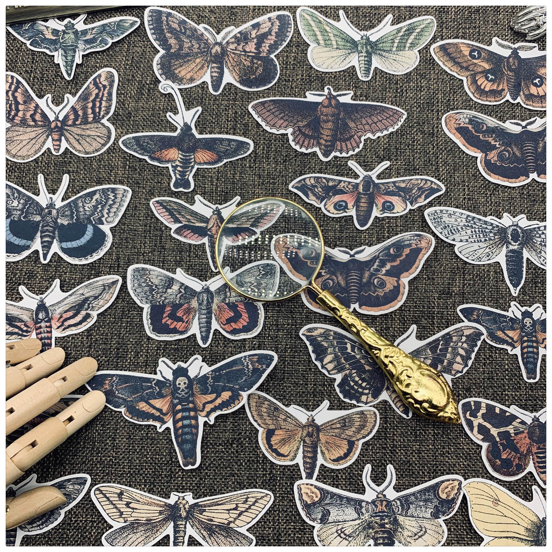 25pcs / Bag Vintage Moth Sticker DIY Scrapbooking Journal Album Diary Mobile Happy Plan Decoration Sticker