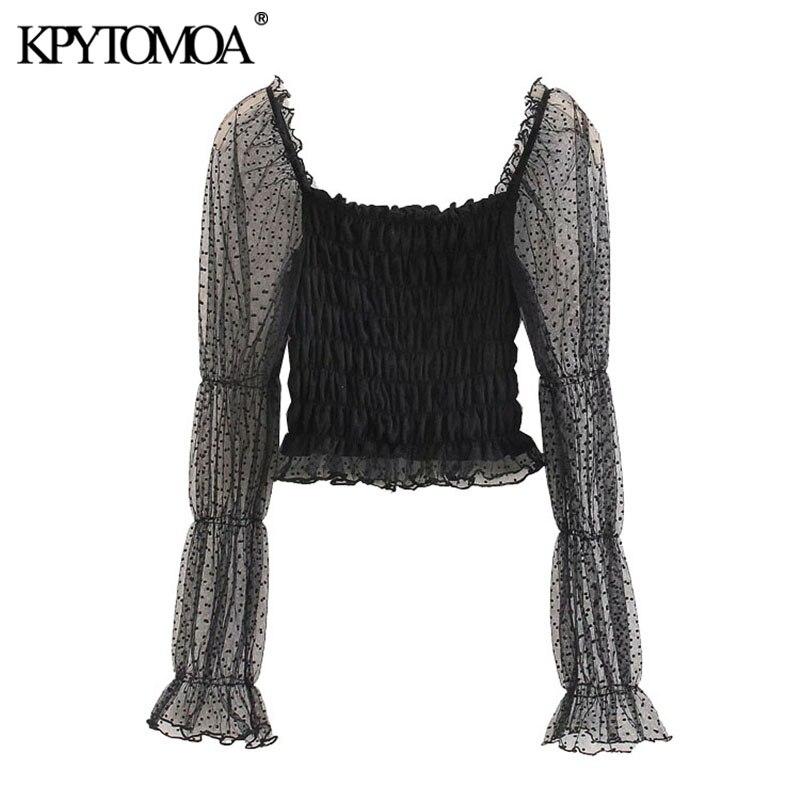 KPYTOMOA Women 2020 Sexy Fashion Smocked Elastic Ruffled Cropped Blouses Vintage See Through Long Sleeve Female Shirts Chic Tops