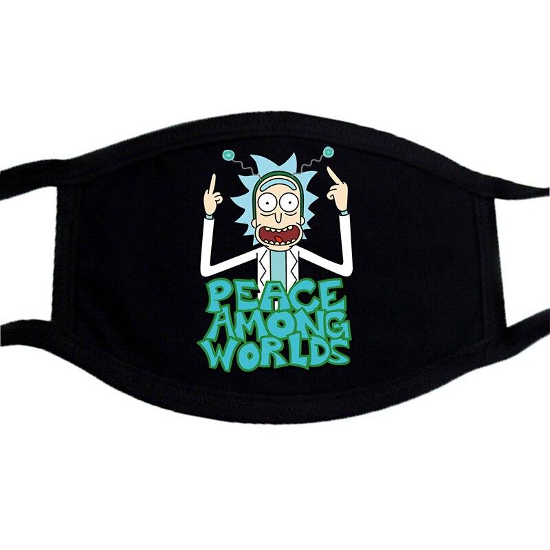 Cartoon Print Mask Face Black Bilayer Winter Warm Keep  Mouth Muffle Masks Washable Unisex Dust Proof Mask