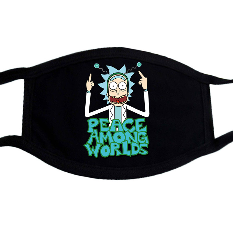 Rick And Morty Cartoon Print Mask Face Black Bilayer Winter Warm Keep Cotton Mouth Muffle Masks Washable Unisex Dust Proof Mask