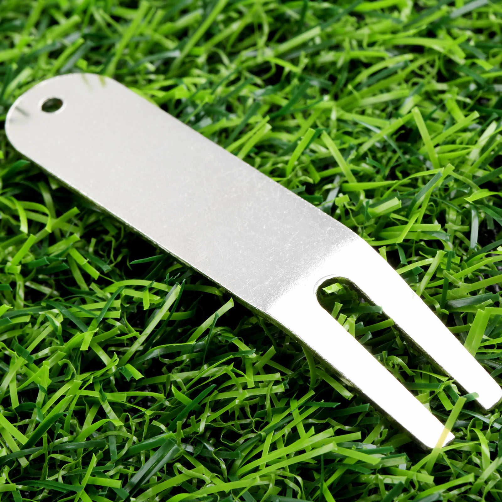 2 Chiếc Hợp Kim Kẽm Golf Sửa Chữa Divot Dụng Cụ Rãnh Bụi Sân Cột Mốc Golf Đưa Xanh Dĩa Pitchfork Switchblade Nhẹ
