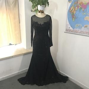 Image 3 - 黒イスラム教徒のイブニングドレス 2020 マーメイドロングスリーブアップリケレースビーズイスラムドバイサウジアラビアアラビアロングフォーマルイブニングガウン